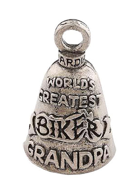 Biker GRANDPA (Worlds Greatest) Grandad Guardian Angel Bell, Lifestyle Accessories - Fat Skeleton UK