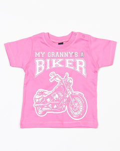 My Granny's a Biker Cool Baby T Shirt in Bubblegum Pink, Baby & Kids - Fat Skeleton UK