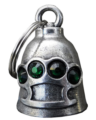 3D Brass Knuckles Bell with Green Gems Guardian Gremlin, Lifestyle Accessories - Fat Skeleton UK