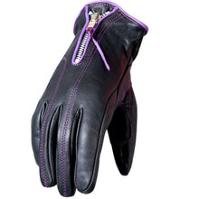 Ladies Purple trim leather Riding Gloves, Clothing Accessories - Fat Skeleton UK