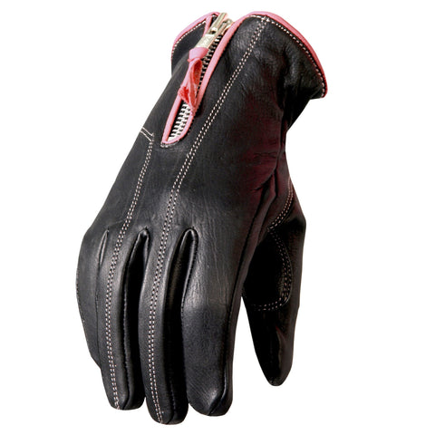 Ladies Pink trim Leather Riding Gloves