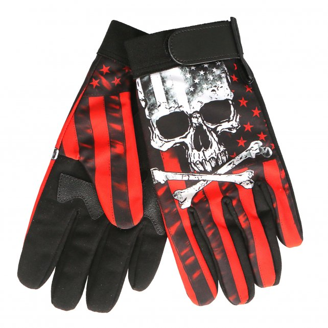 Mechanic / Summer Riding Gloves Skull & Flag, Clothing Accessories - Fat Skeleton UK