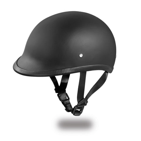 Daytona Low Profile Skull Cap D.O.T Matt Black Bobber Hawk Polo Style, Open Face Helmets - Fat Skeleton UK