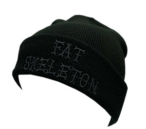Fat Skeleton Rib Knitted Black Beanie with 3D embroidery