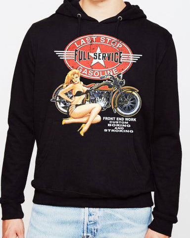 Offer - LAST STOP GARAGE CLASSIC HARLEY PIN UP HOODIE
