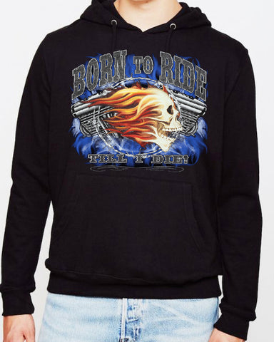 Offer - Flaming Skull HD Engine Born to Ride V Twin HOODIE