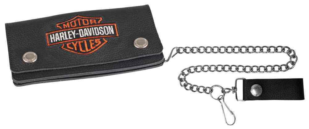 Genuine Harley Davidson Bar & Shield logo Large Leather Wallet Chain & Clip, Lifestyle Accessories - Fat Skeleton UK