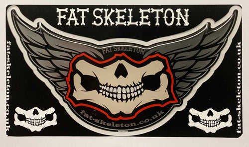 Fat Skeleton Grinning Skull & Wing 3D Flexi Decal Sticker, Lifestyle Accessories - Fat Skeleton UK