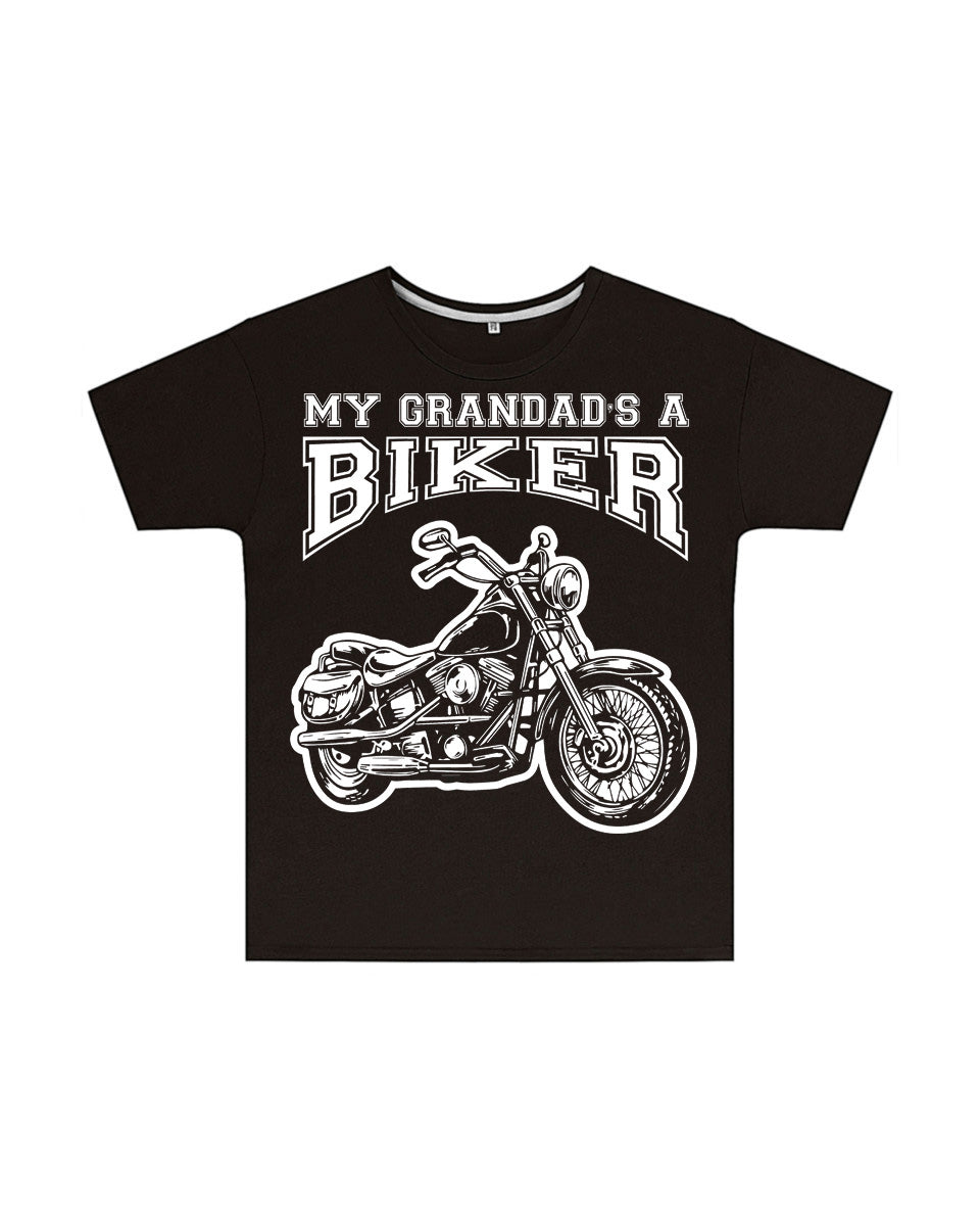 My Grandad's a Biker Kids T Shirt in Black, Baby & Kids - Fat Skeleton UK