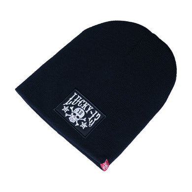 Lucky 13 Sew on Patch Logo Beanie, Clothing Accessories - Fat Skeleton UK