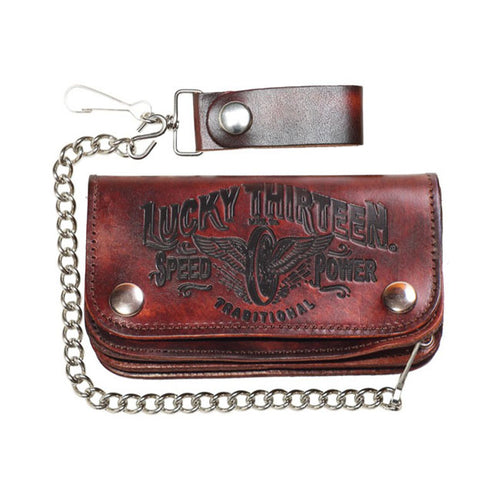 Lucky 13 Large Antiqued Brown Leather Bi Fold Wallet Chain & Clip