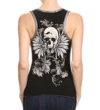 Zip Front Round Neck Vest Skull & Angel Wings