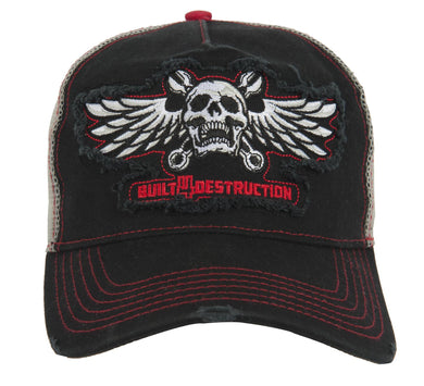 Lethal Threat Built 4 Destruction Trucker style Baseball Cap, Clothing Accessories - Fat Skeleton UK