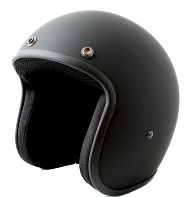 Matt Black - Daytona Low Profile D.O.T. Open Face Helmet, Open Face Helmets - Fat Skeleton UK