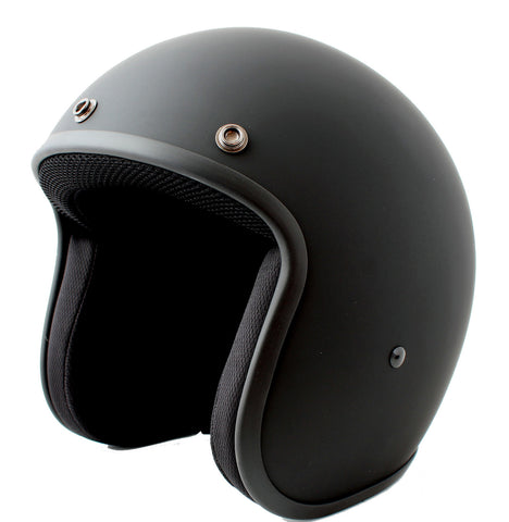 Daytona Low Profile Open Face Matt Black D.O.T. Open Face Helmet, Open Face Helmets - Fat Skeleton UK
