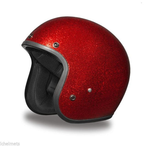Daytona Low Profile Red Metalflake D.O.T. Open Face Helmet, Open Face Helmets - Fat Skeleton UK