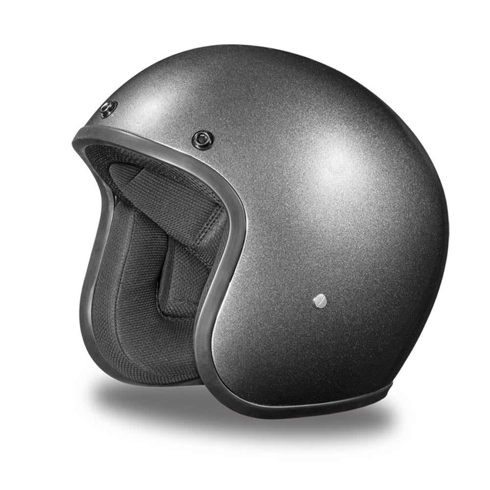 Gun Metal Grey - Daytona Low Profile D.O.T. Open Face Helmet, Open Face Helmets - Fat Skeleton UK