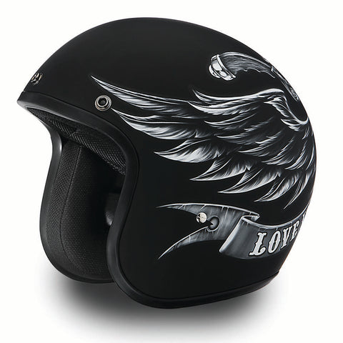 'Love It Leave It' - Daytona Low Profile  D.O.T. Open Face Helmet, Open Face Helmets - Fat Skeleton UK
