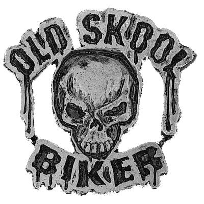 Old Skool Biker Skull Pewter Pin Badge, Accessories - Fat Skeleton UK