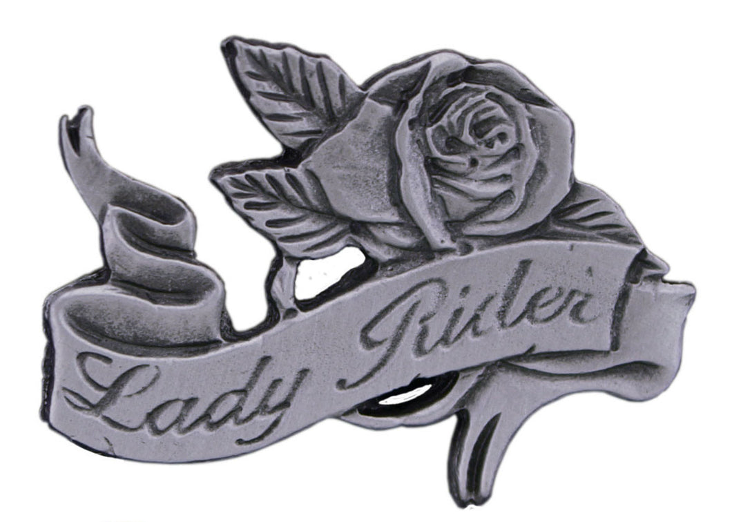 Lady Rider Rose Pewter Pin Badge, Lifestyle Accessories - Fat Skeleton UK