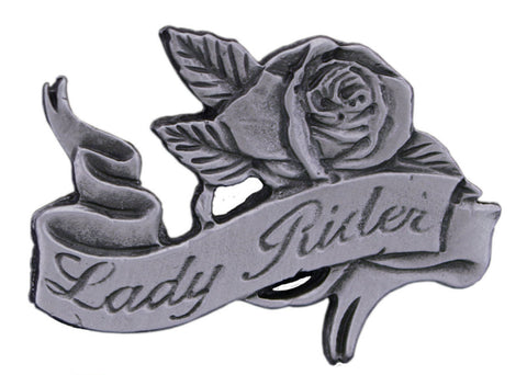 Lady Rider Rose Pewter Pin Badge, Accessories - Fat Skeleton UK