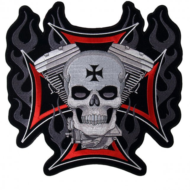 V Twin Skull Sew on Patch, Lifestyle Accessories - Fat Skeleton UK