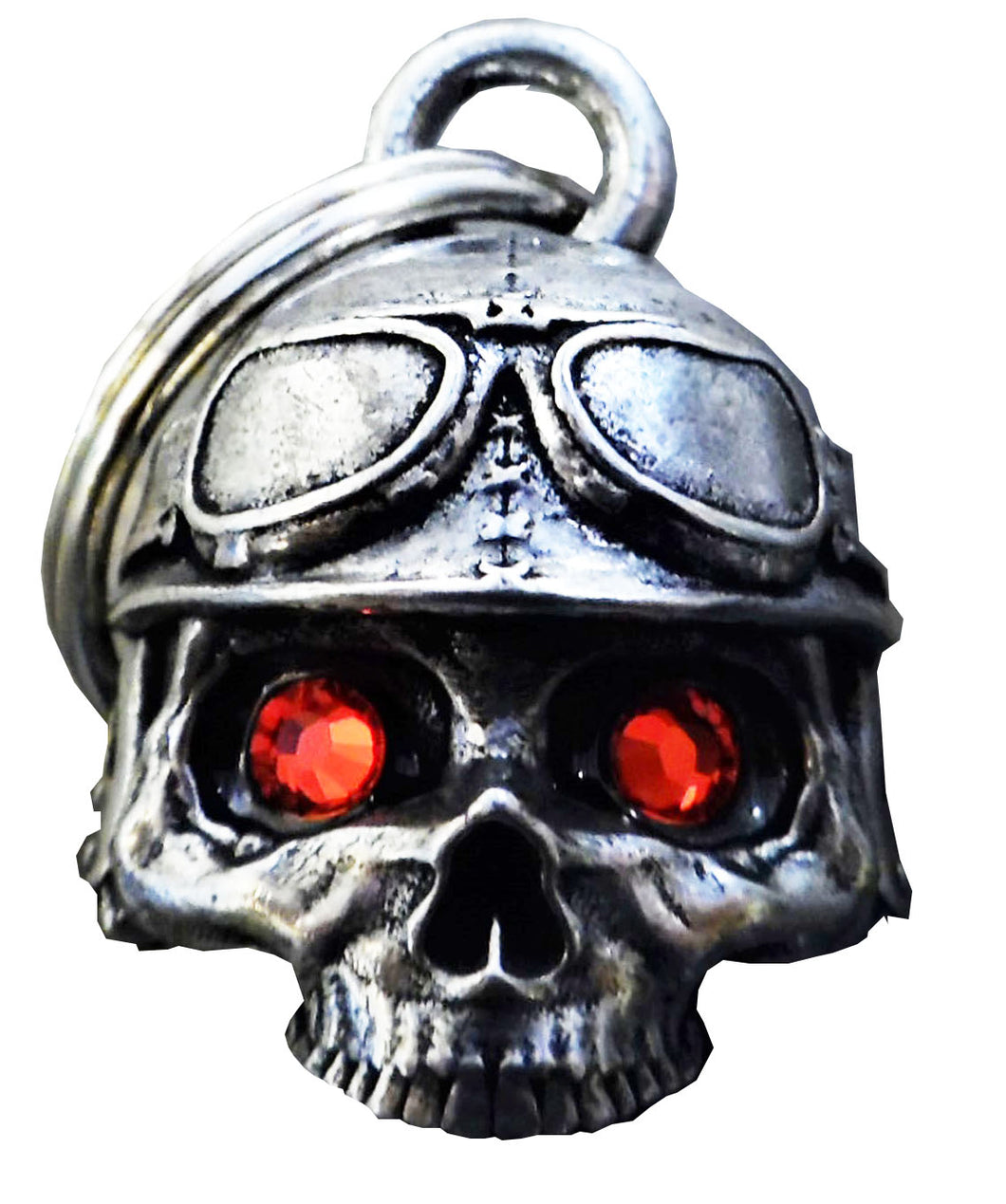 3D Biker Skull Bell with Red Eyes Guardian Gremlin, Lifestyle Accessories - Fat Skeleton UK