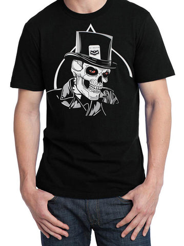 NEW Fat Skeleton ™ Top Hat & Red Eye Skull T Shirt