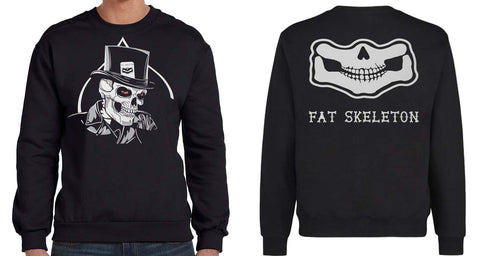 NEW Fat Skeleton ™ Top Hat & Grinning Skull Double sided Sweatshirt