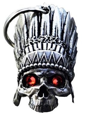 3D Indian Chief Head Dess Red Eye Skull Skull Bell Guardian Gremlin, Lifestyle Accessories - Fat Skeleton UK