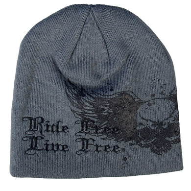Live Free Ride Free Wings Beanie, Clothing Accessories - Fat Skeleton UK