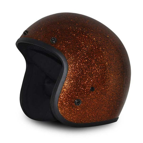 Daytona Low Profile Root Beer Metalflake D.O.T. Open Face Helmet, Open Face Helmets - Fat Skeleton UK