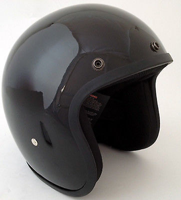 Gloss Black - Daytona Low Profile D.O.T. Open Face Helmet, Open Face Helmets - Fat Skeleton UK