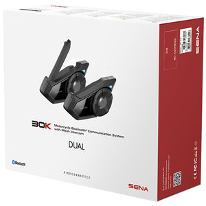 Sena 30K Bluetooth Headset & Intercom DUAL KIT, Open Face Helmets - Fat Skeleton UK