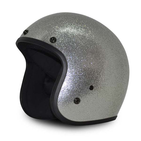 Daytona Low Profile Silver Metalflake D.O.T. Open Face Helmet, Open Face Helmets - Fat Skeleton UK