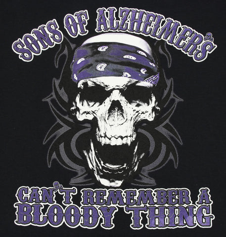 "Sons of Alzheimer's Can't Remember a Bloody Thing Skull ""Charity"" T Shirt, Mens Clothing - Fat Skeleton UK"