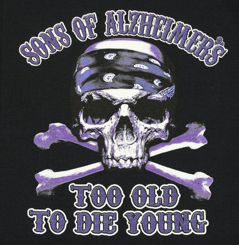 "Sons of Alzheimer's Too Old To Die Young Skull ""Charity"" T Shirt, Mens Clothing - Fat Skeleton UK"