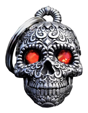 3D Sugar Skull Bell with Red Eyes Guardian Gremlin, Lifestyle Accessories - Fat Skeleton UK
