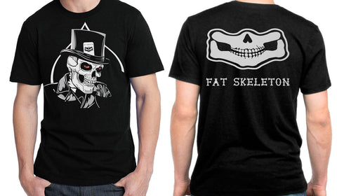 INTRODUCTORY OFFER NEW Fat Skeleton Top Hat & Rear Print Skull T Shirt