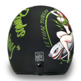 Daytona Low Profile Open Face Matt Black Bombs Away Pin Up D.O.T., Open Face Helmets - Fat Skeleton UK