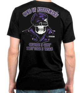 "Sons of Alzheimer's Older I Get Better I Was Prospect Skull ""Charity"" T Shirt, Mens Clothing - Fat Skeleton UK"