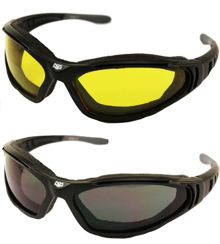 Fat Skeleton Ultima 24 Foam padded Reactalite Rider Yellow Lens Glasses