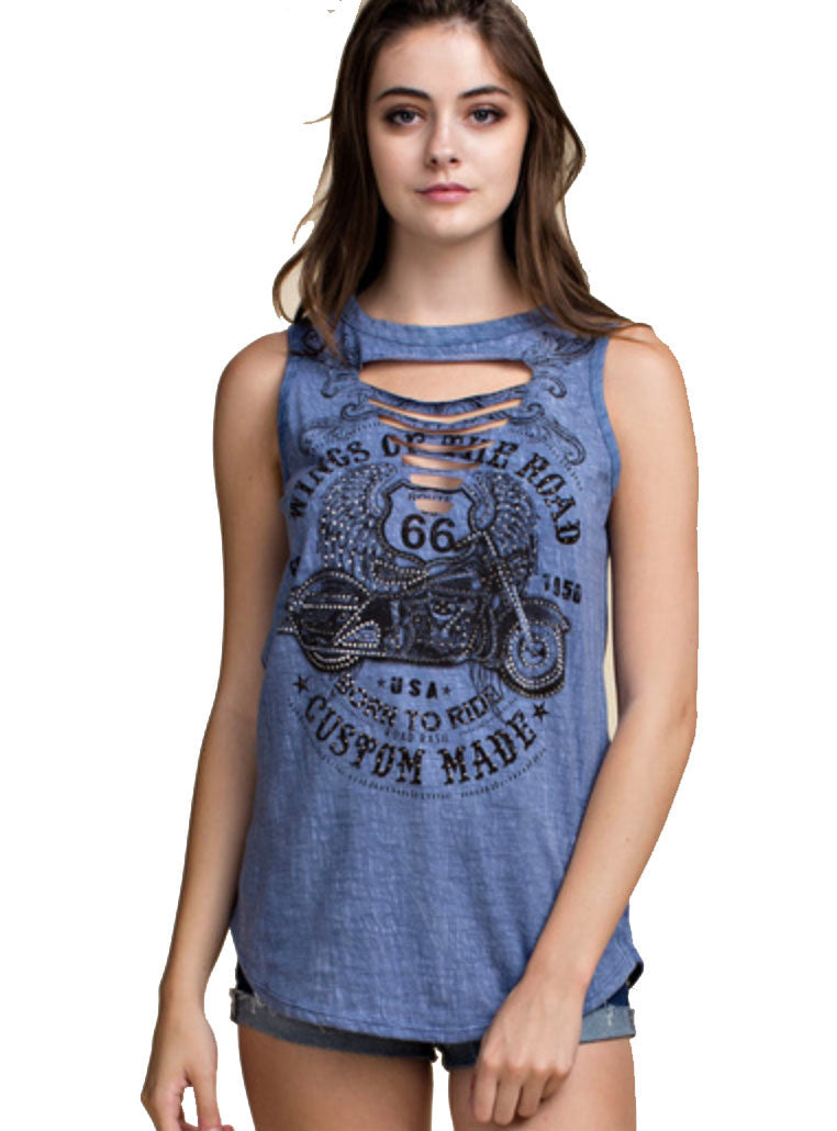 Ladies Motorcycle Print Top with Cut out Detail & Rhinestones by Vocal of California, Womens Clothing - Fat Skeleton UK