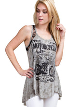 Motorcycle Tank Top with print plus Stone Lace Contrast by Vocal of California, Womens Clothing - Fat Skeleton UK