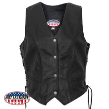 Ladies American Made Leather Waistcoat, Leather Clothing - Fat Skeleton UK