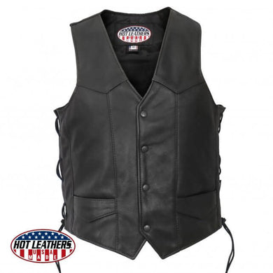American Made Traditional  Style Leather Waistcoat Lace Tie Sides BFCM, Leather Clothing - Fat Skeleton UK