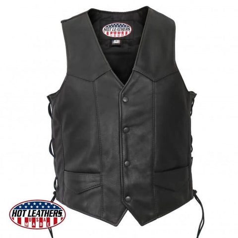 American Made Traditional  Style Leather Waistcoat, Leather Clothing - Fat Skeleton UK