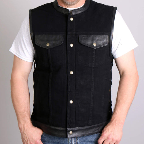 Denim & Leather Trim Outlaw Club Style Leather Waistcoat / Cut, Leather Clothing - Fat Skeleton UK