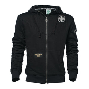 West Coast Choppers Embroidered Maltese Cross Jesse James Hooded zip up  Sweatshirt, Mens Clothing - Fat Skeleton UK