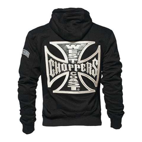 West Coast Choppers Embroidered Maltese Cross Jesse James Hooded zip up  Sweatshirt